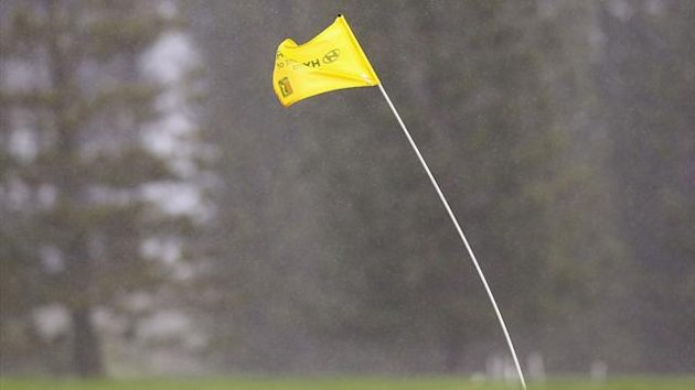 A flag bends in the wind at the Hyundai Tournament of Champions in Hawaii (AFP)