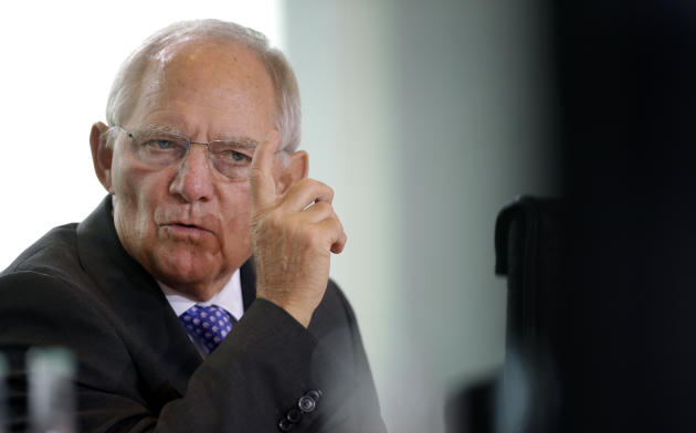 FILE - In this Nov. 5, 2014 file picture German Finance Minister Wolfgang Schaeuble gestures during a cabinet meeting  in Berlin. s German Finance Minister Wolfgang Schaeuble on Sunday March 1, 2015