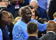Apr 4, 2016; Houston, TX, USA; Michael Jordan in attendance during the first half in the championship game of the 2016 NCAA Men's Final Four between the North Carolina Tar Heels and Villanova Wildcats at NRG Stadium. Mandatory Credit: Robert Deutsch-USA TODAY Sports