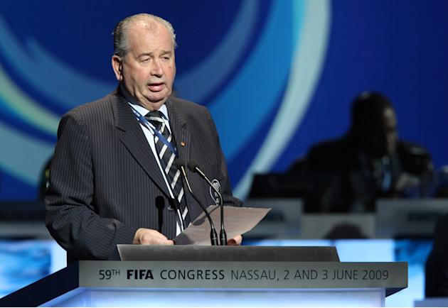 FILE - In this Wednesday, June 3, 2009 file photo, FIFA Deputy Chairman Julio H. Grondona, of Argentina speaks at the 59th FIFA Congress in Nassau, Bahamas. FIFA secretary general Jerome Valcke was no