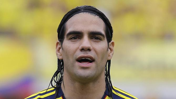 Colombia's Radamel Falcao Garcia prior to a 2014 World Cup qualifying soccer match against Chile in Barranquilla, Colombia, Friday, Oct. 11, 2013