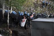 photo Fabio Ferrari - LaPresse 11 04 2012 Giaglione ( Italy ) News Day of expropriation of No tav - land in the picture:protesters and police