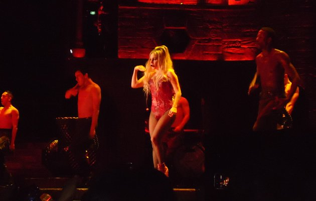 Lady Gaga in a meat leotard for the Born This Way Ball (Photo courtesy of Lin Wanqing)