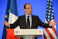 French President Francois Hollande addresses French citizens living abroad at the French Embassy in Washington, DC. Hollande said growth must be the priority, maintaining his stance that austerity measures alone would be insufficient to reverse the crisis in Europe
