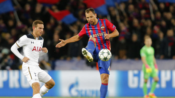 Tottenham's Vincent Janssen in action with CSKA Moscow's Sergei Ignashevich