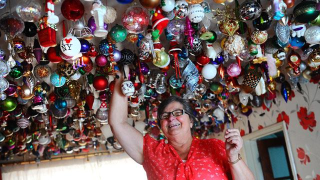 Grandmother Hangs Christmas Decorations, 1,764 of Them
