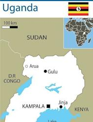 Map of Uganda, where the president has warned against shaking hands and other physical contact after the first reported death from the deadly Ebola virus in the capital Kampala