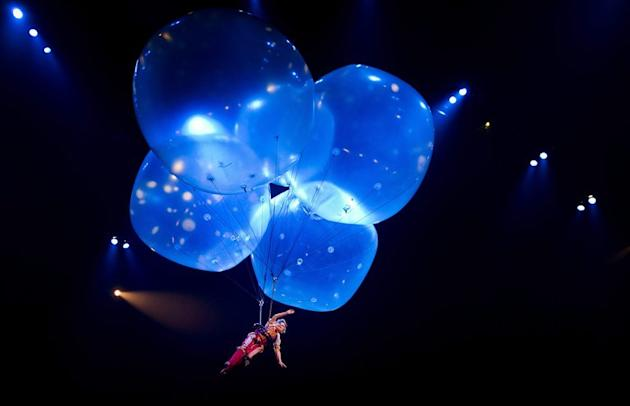 File photo of a rehearsal for the Cirque du Soleil, in Amsterdam, on March 22, 2012. A performer with the world-famous circus died after plunging from a high wire before a horrified crowd at a Las Vegas show