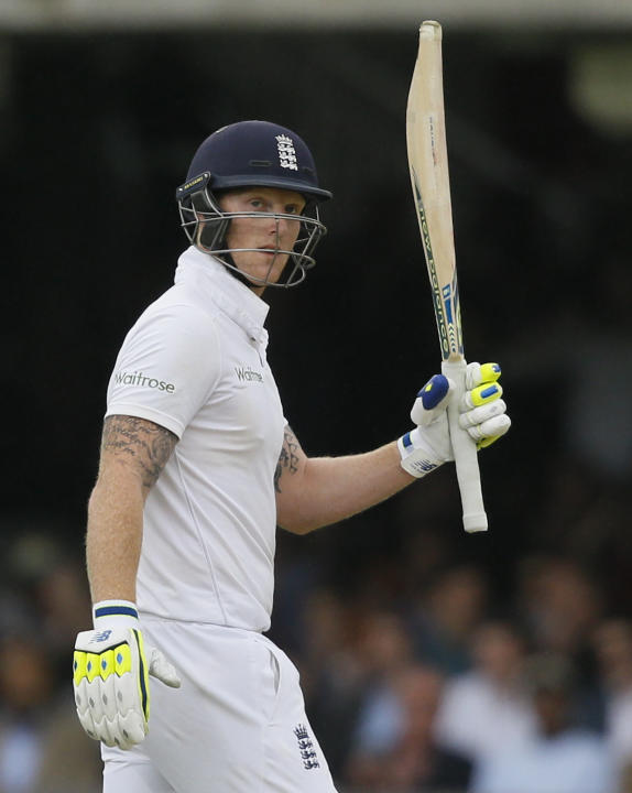 England's Ben Stokes celebrates his 50, during the fourth day of the first Test match between England and New Zealand at Lord's cricket ground in London, Sunday, May 24, 2015. (AP Photo/Kirsty