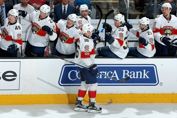 SAN JOSE, CA - FEBRUARY 15: Aleksander Barkov #16 of the Florida Panthers celebrates his first period goal with teammates during a NHL game against the San Jose Sharks at SAP Center at San Jose on February 15, 2017 in San Jose, California. (Photo by Don Smith/NHLI via Getty Images)