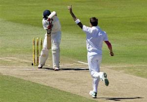 South Africa's Dale Steyn celebrates bowling India's Cheteshwar Pujara during the fifth day of the second cricket test match in Durban, December 30, 2013. REUTERS/Rogan Ward/Files