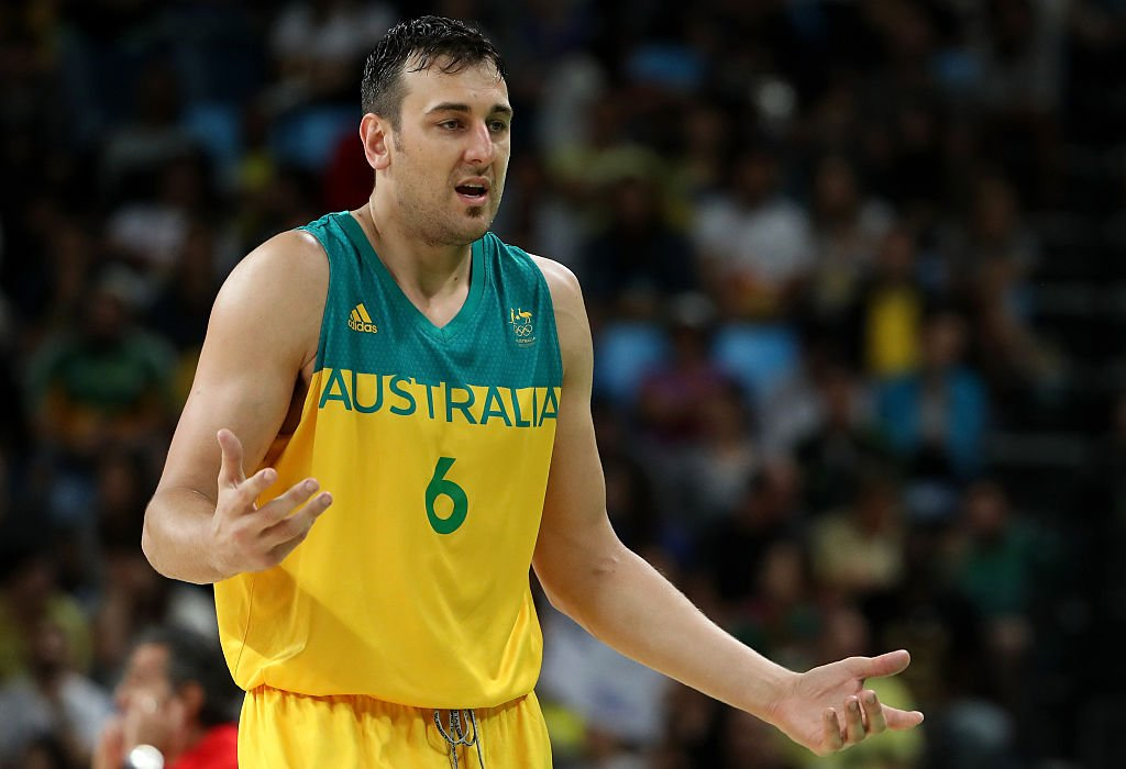 Andrew Bogut reacts during the Men's Basketball Bronze medal game between Australia and Spain. (Christian Petersen/Getty Images)