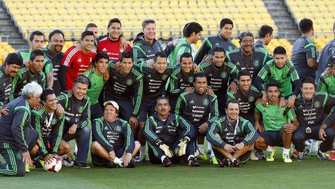 Mexico's team pose for a picture during a training session for their World Cup qualifying playoff second leg soccer match against New Zealand in Wellington