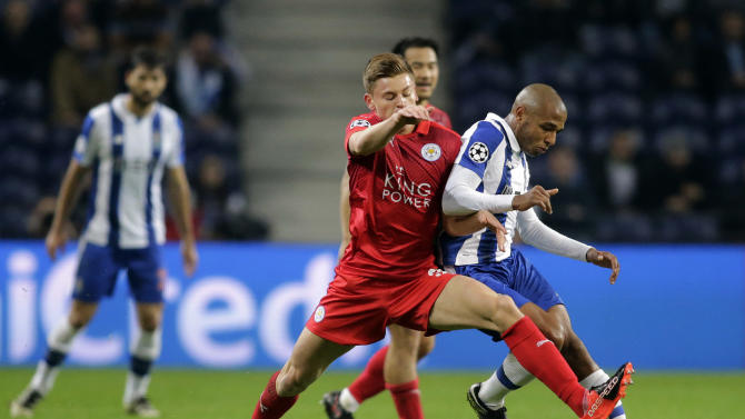 FC Porto's Yacine Brahimi in action with Leicester City's Harvey Barnes
