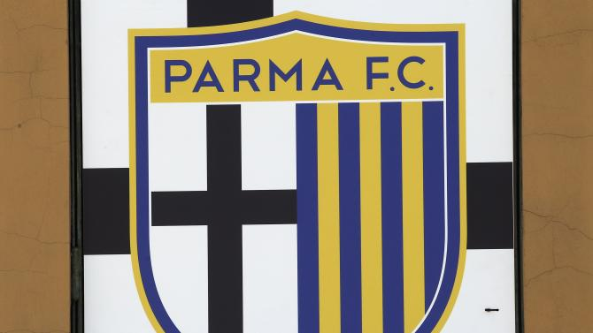 The Parma football club logo is pictured at the entrance of the Ennio Tardini stadium in Parma