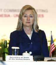 U.S. Secretary of State Hillary Rodham Clinton pauses during the Joint Commission Meeting Indonesia-U.S. in Nusa Dua, Bali, Indonesia, Sunday, July 24, 2011. (AP Photo/Dita Alangkara)