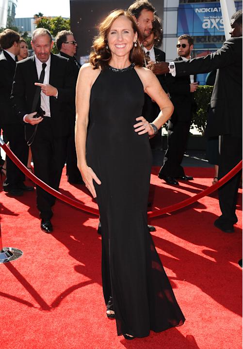 Molly Shannon arrives at the 2013 Primetime Creative Arts Emmy Awards, on Sunday, September 15, 2013 at Nokia Theatre L.A. Live, in Los Angeles, Calif. (Photo by Scott Kirkland/Invision for Academy of