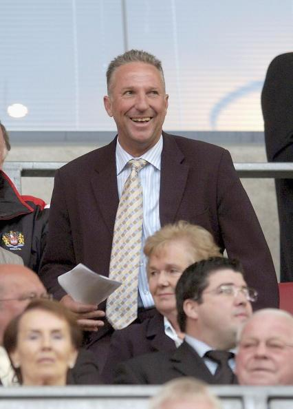 WIGAN, ENGLAND - JUNE 10: Former England cricketer Ian Botham watches his son Liam make his debut for the Wigan Warriors during the Engage Super League match between Wigan Warriors and Hull FC at the JJB Stadium on June 10, 2005 in Wigan, England. (Photo by Matthew Lewis/Getty Images)