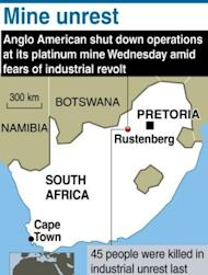 A map showing Rustenberg in South Africa, location of an Anglo American platinum mine that was shut down as fears rose that widening strikes are spiralling into an industry revolt. South African police have fired rubber bullets, raided worker hostels and seized traditional weapons at platinum giant Lonmin in a crackdown on rising unrest in the key mining industry