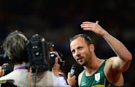 South Africa's Oscar Pistorius speaks to journalists after finishing second in the men's 200 metres T44 final athletics event during the London 2012 Paralympic Games. Pistorius has apologised for the timing of his outburst after losing his title, but insisted there was an issue with large prosthetics lengthening an amputee's stride