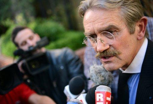 French Football League (LFP) president Frederic Thiriez speaks to the press in Paris on October 12, 2012