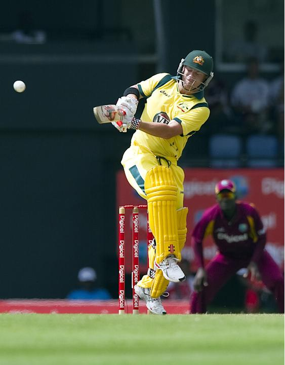 Australian cricketer David Warner plays