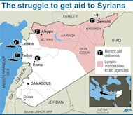 Map of Syria showing aid deliveries and regions inaccessible to aid agencies