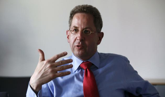 Maassen from the Federal Office for the Protection of the Constitution gestures during an interview in Berlin