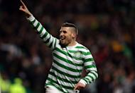 Celtic foward Gary Hooper celebrates after scoring a goal during a Champions League match in Glasgow on December 6, 2012. Celtic manager Neil Lennon has tipped Hooper to end his five-game goal drought when his side take on Dundee on Sunday
