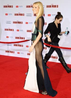Gwyneth Paltrow Skips Underwear in Sheer Dress at Iron Man 3 Premiere