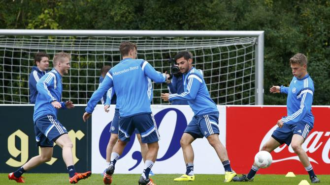 Germany national soccer players Schuerrle Kruse Volland and Ginter take part in training session in Frankfurt