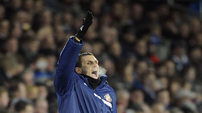 Sunderland's manager Poyet reacts during their English Premier League soccer match against Cardiff City in Cardiff