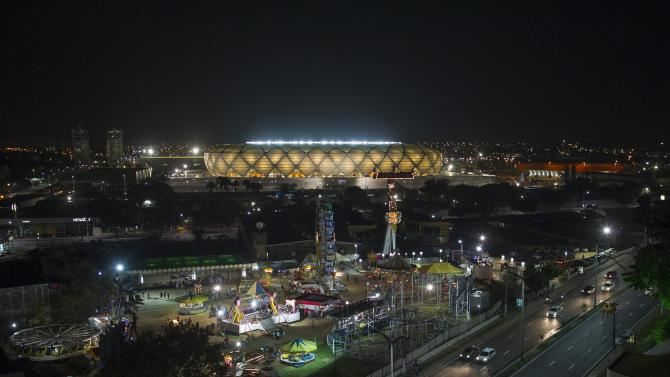 An overview of the Arena Amazonia Vivaldo Lima soccer stadium on the day it was inaugurated in Manaus