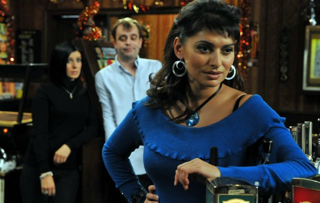 Haque... on set in Coronation Street (Copyright: Rex)