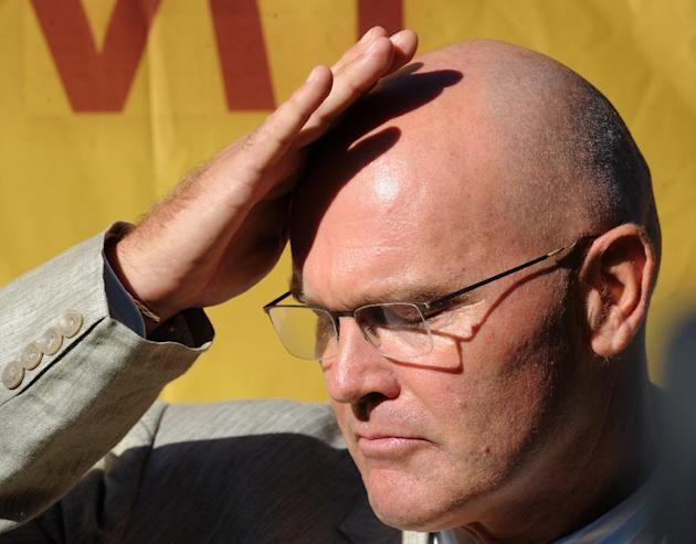 Former New Zealand cricket captain Martin Crowe after he was inducted into the International Cricket Council's Hall of Fame during a ceremony at the Cricket World Cup match between Australia and N