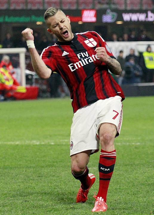 AC Milan's Menez celebrates after scoring against Cagliari during their Italian Serie A soccer match  in Milan