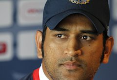 India's Captain MS Dhoni attends a press conference at Lord's Cricket Ground in London, on July 20, 2011. England are due to play India in the first t...
