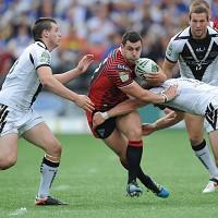 Rhys Williams, centre, has signed a new deal with Warrington