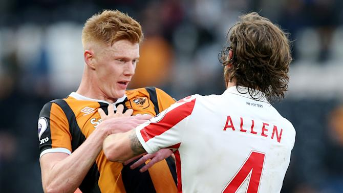 Stoke City's Joe Allen clases with Hull City's Sam Clucas