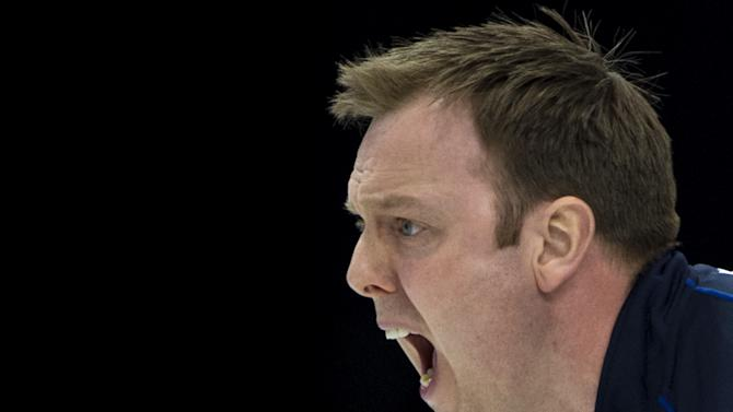 Scotland's skip Tom Brewster reacts on April 8, 2012 during his final match against Canada at the men's World Curling Championship in Basel. AFP PHOTO / FABRICE COFFRINI (Photo credit should read FABRICE COFFRINI/AFP/Getty Images)