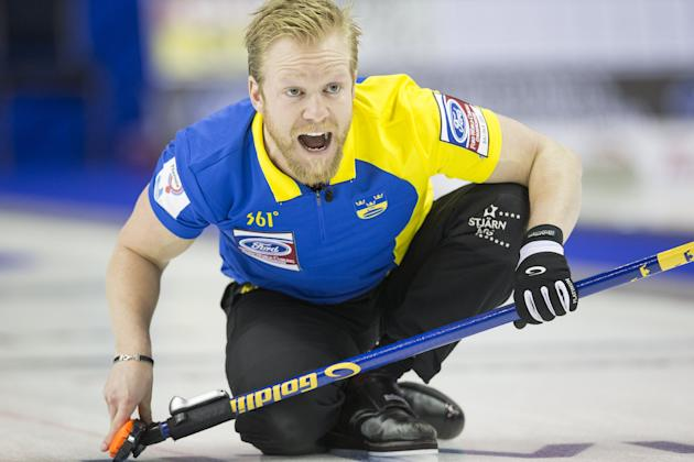 Sweden's skip Edin calls a shot against Norway during the eighth draw of the World Men's Curling Championships in Halifax