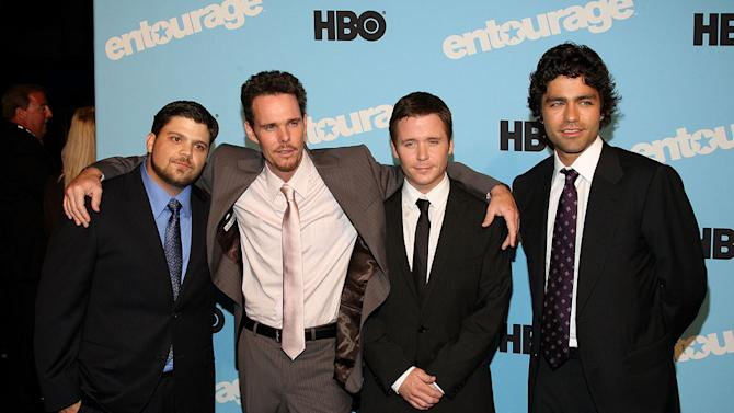 """Jerry Ferrara, Kevin Dillon, Kevin Connolly and Adrian Grenier attend the """"Entourage"""" season 5 premiere at the Ziegfeld Theater on September 3, 2008 in New York City."""