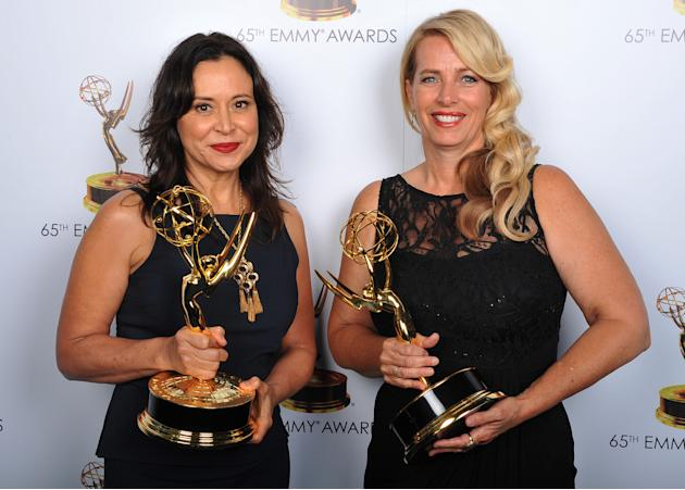 Marie Larkin and Yvette Stone pose for a portrait at the 2013 Primetime Creative Arts Emmy Awards, on Sunday, September 15, 2013 at Nokia Theatre L.A. Live, in Los Angeles, Calif. (Photo by Vince Bucc