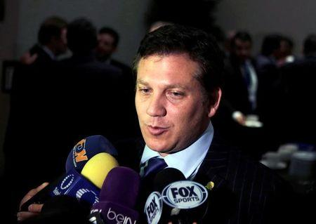 The South American Football Confederation (CONMEBOL) President Alejandro Dominguez speaks to the media as he takes part at the Conmebol Extraordinary Congress as part of the 66th FIFA Congress in Mexico City