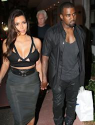 Kim Kardashian and Kanye West are seen leaving Prime 112 Steakhouse in Miami on October 14, 2012 -- Getty Premium