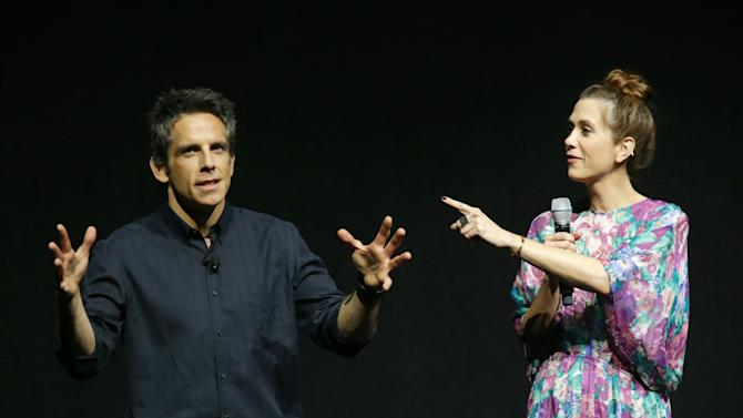 """Ben Stiller and Kristen Wiig, cast members in the upcoming film """"The Secret Life of Walter Mitty"""" at the 20th Century Fox Presentation at 2013 CinemaCon, on Thursday, April, 18th, 2013 in Las Vegas. (Photo by Eric Charbonneau/Invision for 20th Century Fox/AP Images)"""