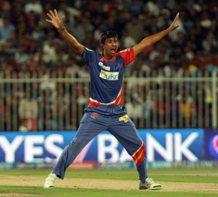 DD bowler Rahul Sharma appeals during the second match of IPL 2014 between Delhi Daredevils and Royal Challengers Bangalore, played at Sharjah Cricket Stadium in Sharjah of United Arab Emirates on Apr