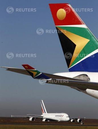 An Air France KLM airplane carrying the Netherlands' national soccer team arrives at Johannesburg's O.R. Tambo airport