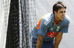 Australia's Mitchell Johnson is seen at a cricket training session at the Adelaide Oval December 2, 2010. REUTERS/Mick Tsikas/Files