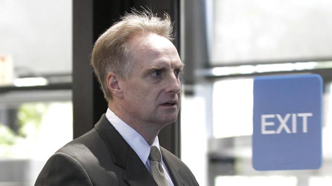 James McKay, lead prosecutor in the William Balfour murder trial, returns from hearing a question from the jury during deliberations at Cook County Criminal Court, Friday, May 11, 2012, in Chicago. Balfour, is charged in the 2008 murder of Oscar and Grammy winning performer Jennifer Hudson's mother, brother and nephew. (AP Photo/M. Spencer Green)